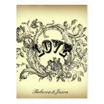elegant victorian swirls flourish vintage wedding post card