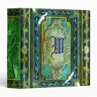 Elegant Victorian vintage aqua jade 3 Ring Binders