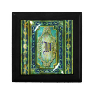Elegant victorian vintage blue monogram trinket box