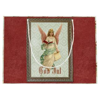 Elegant Victorian Vintage Christmas Angel Large Gift Bag