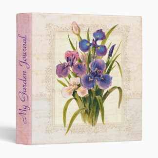 Elegant Victorian Vintage Iris Garden Journal 3 Ring Binder