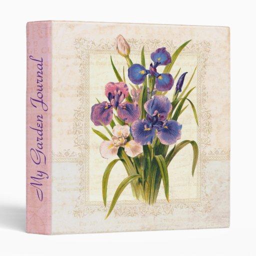 Elegant Victorian Vintage Iris Garden Journal Vinyl Binders
