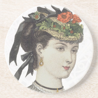Elegant Victorian Woman in a Fancy Hat Beverage Coasters