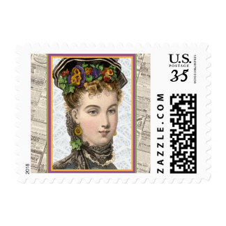 Elegant Victorian Woman With Pansey Bonnet Postage