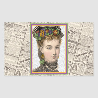 Elegant Victorian Woman With Pansey Bonnet Rectangular Sticker