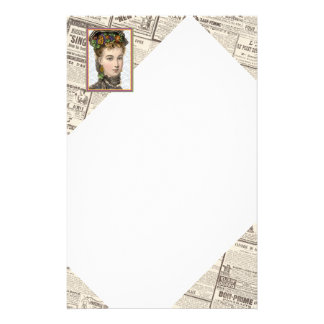 Elegant Victorian Woman With Pansey Bonnet Stationery