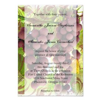 Elegant Vineyard Purple/Green Grapes Wedding Card