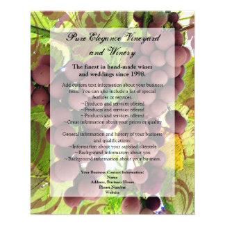 Elegant Vineyard Purple/Green Grapes Wedding Flyer