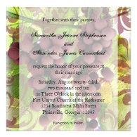Elegant Vineyard Purple/Green Grapes Wedding Invitations