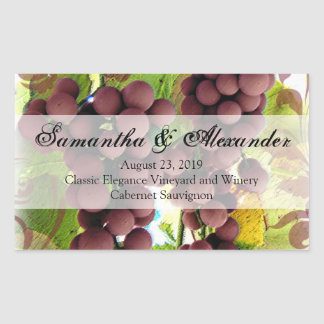 Elegant Vineyard Purple/Green Grapes Wedding Rectangular Sticker