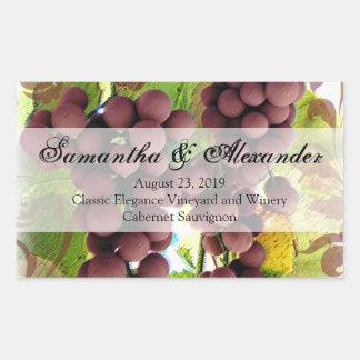 Elegant Vineyard Purple/Green Grapes Wedding Rectangular Sticker