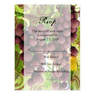 Elegant Vineyard Purple/Green Grapes Wedding RSVP Postcard