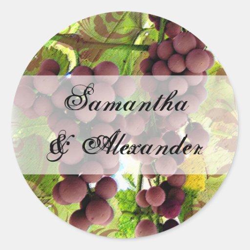 Elegant Vineyard Purple/Green Grapes Wedding Round Stickers