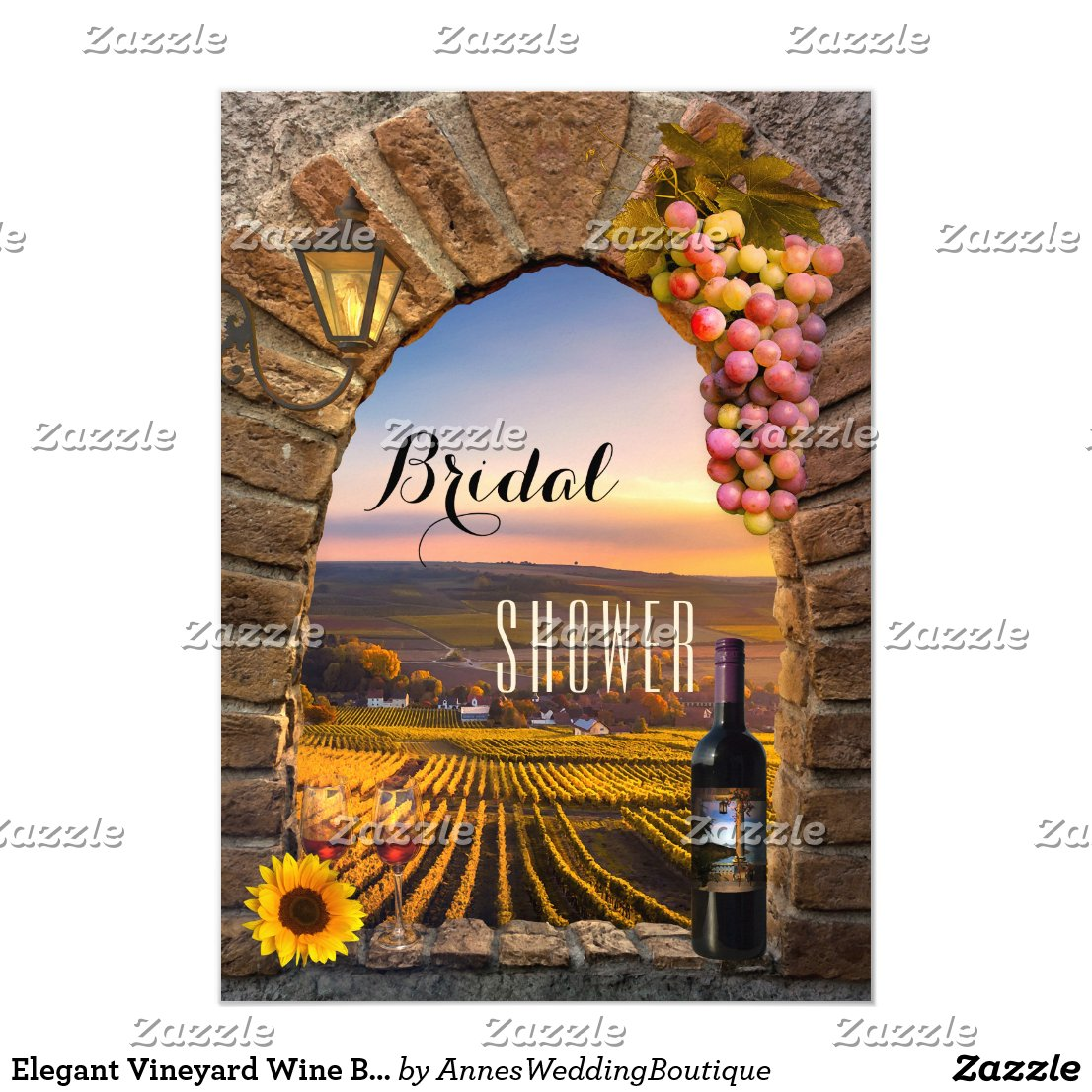 Elegant Vineyard Wine Bridal Shower Invitation