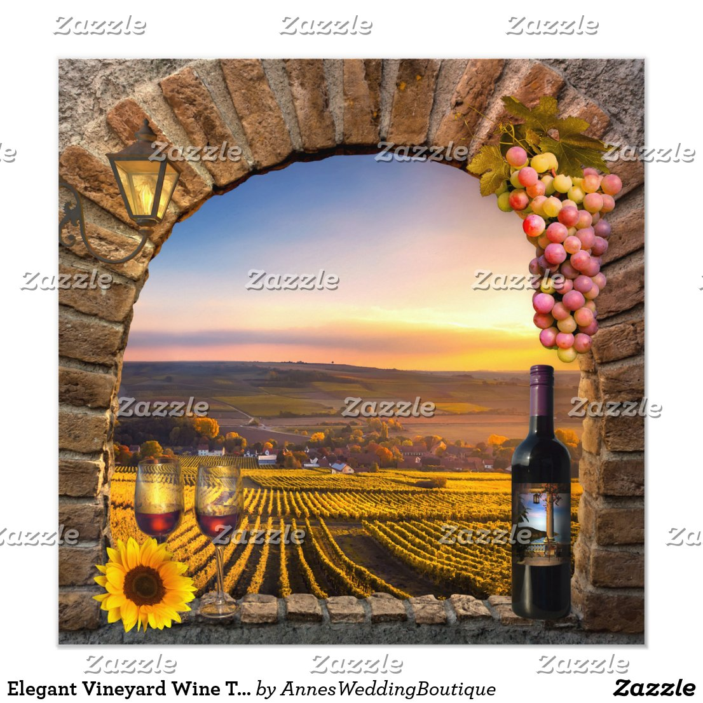 Elegant Vineyard Wine Themed Wedding Invitation