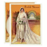Elegant Vintage 1930s Bride Bridal Shower Invitation