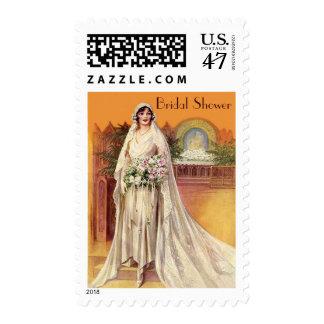 Elegant Vintage 1930s Bride Bridal Shower Postage Stamp