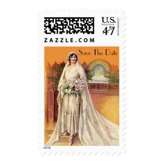 Elegant Vintage 1930s Bride Save the Date Stamp