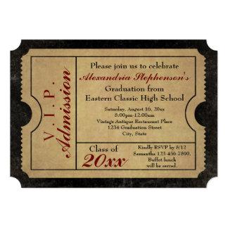 Elegant Vintage Admission Ticket Custom Graduation Card