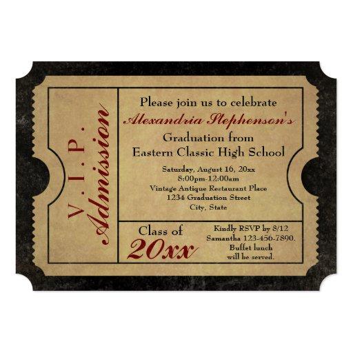 elegant vintage admission ticket custom graduation card zazzle. Black Bedroom Furniture Sets. Home Design Ideas