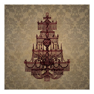 Elegant vintage antique chandelier on Damask Posters