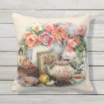 Elegant Vintage Antique Victorian Tea Room Decor Outdoor Pillow