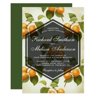 Elegant Vintage Apricot Fruit Wedding Invitation
