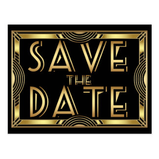 Elegant Vintage Art Deco Wedding Save the Date Postcard