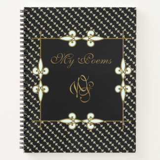 Elegant Vintage Art Nouveau Monogram My Poems Notebook