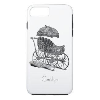 Elegant Vintage Baby Carriage and Umbrella Custom iPhone 7 Plus Case