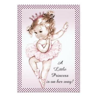 Elegant Vintage Ballerina Princess Baby Shower Card