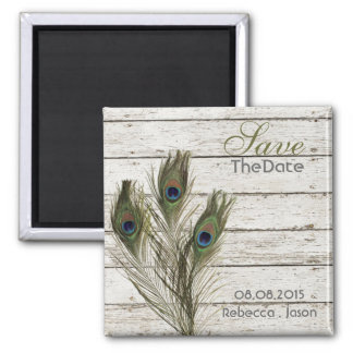 elegant vintage barnwood peacock save the date 2 inch square magnet