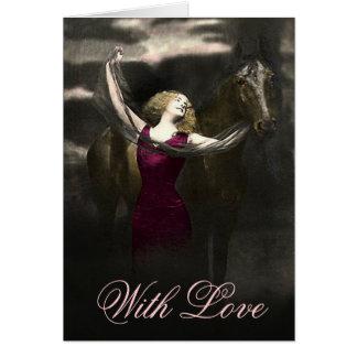 Elegant Vintage Beauty and the Black Stallion Card