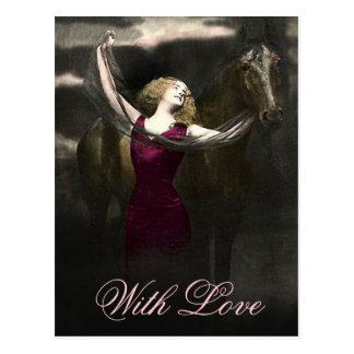 Elegant Vintage Beauty and the Black Stallion Postcard