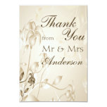 Elegant Vintage Beige Lilies Wedding Thank You Card