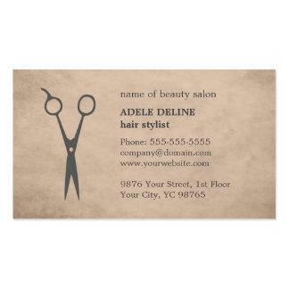Elegant Vintage Beige Scissor Hair Stylist Business Card