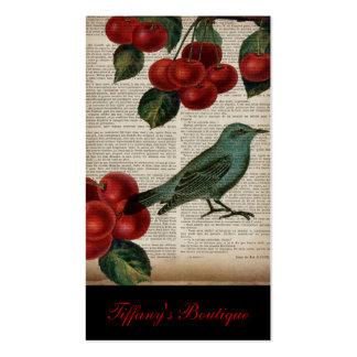 elegant vintage bird botanical art red cherry business card