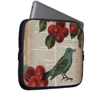 elegant vintage bird botanical art red cherry computer sleeve