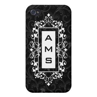 Elegant Vintage Black and White Monogram Scroll iPhone 4/4S Cover