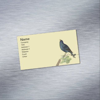 Elegant Vintage Black Bird Yellow Business Card Magnet