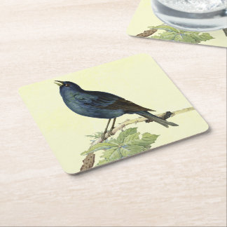 Elegant Vintage Black Bird Yellow Square Paper Coaster