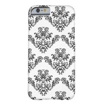 Elegant vintage black damask White iPhone 6 Barely There iPhone 6 Case