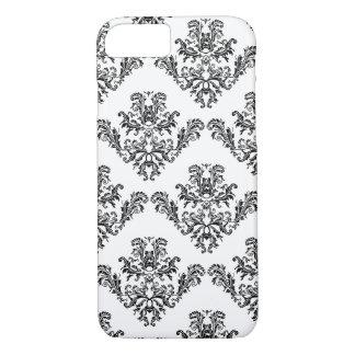 Elegant vintage black damask White iPhone 7 iPhone 7 Case