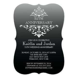 Elegant Vintage Black Flourish Anniversary Party 5x7 Paper Invitation Card