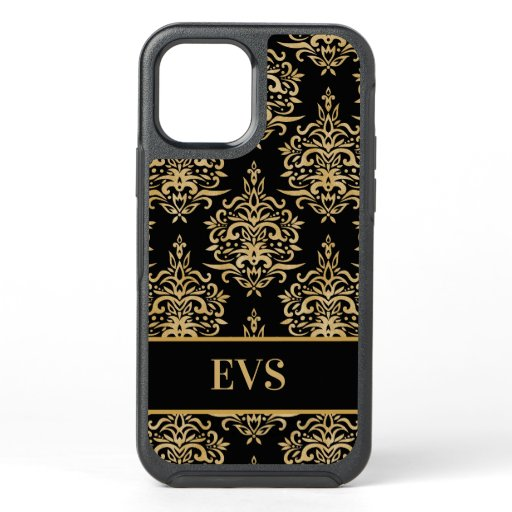 Elegant Vintage Black Gold Damask Monogram OtterBox Symmetry iPhone 12 Case
