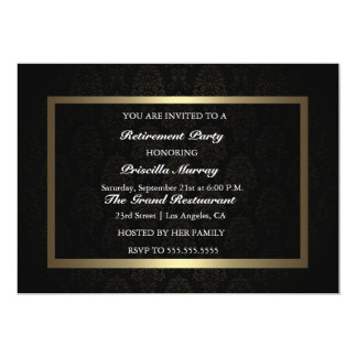 Elegant Vintage Black & Gold Retirement Party 5x7 Paper Invitation Card