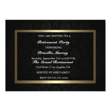 Professional Business Elegant Vintage Black & Gold Retirement Party Card