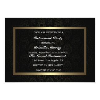 Elegant Vintage Black & Gold Retirement Party 5x7 Paper Invitation Card
