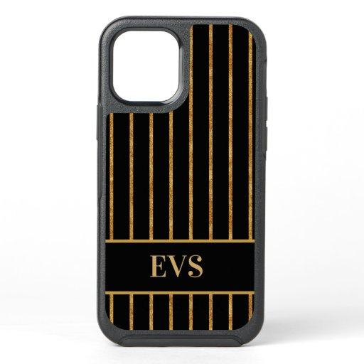 Elegant Vintage Black Gold Stripes OtterBox Symmetry iPhone 12 Case