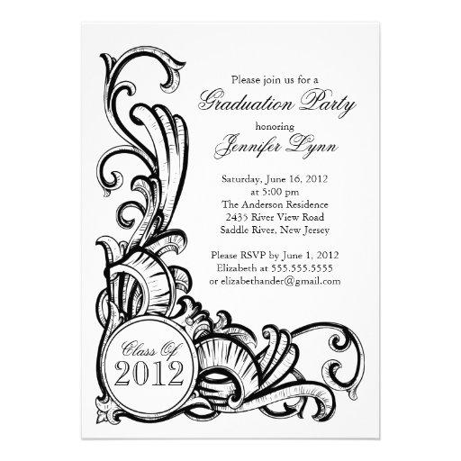 Elegant Vintage Black Graduation Party Invitation